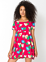 Hearts Printed Rayon Babydoll Dress