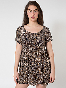 Leopard Printed Rayon Babydoll Dress