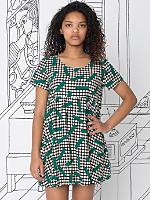 Nathalie Du Pasquier Big Kaya Verde Print Rayon Babydoll Dress