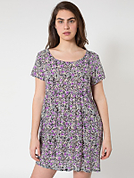 Small Floral Printed Rayon Babydoll Dress