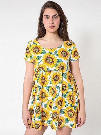 Sunflower Printed Rayon Babydoll Dress