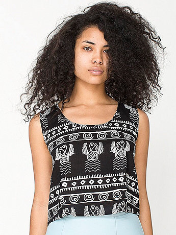 Tribal Print Rayon Loose Crop Top