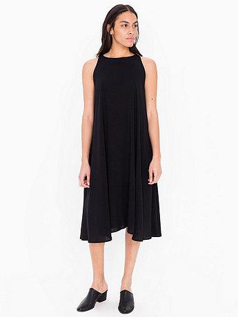 Rayon Challis Sleeveless Mid Length Tent Dress