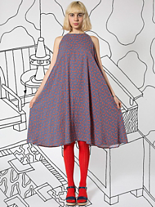 Nathalie Du Pasquier Kaya Tomato Print Rayon Tent Dress