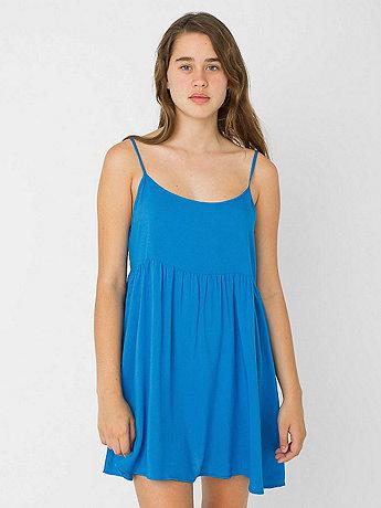 Rayon Challis Spaghetti Strap Babydoll Dress