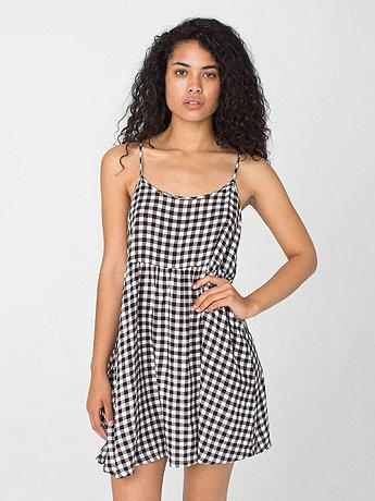 Printed Rayon Challis Spaghetti Strap Babydoll Dress