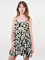 Floral Print Rayon Challis Spaghetti Strap Babydoll Dress