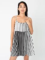 Striped Rayon Challis Spaghetti Strap Babydoll Dress