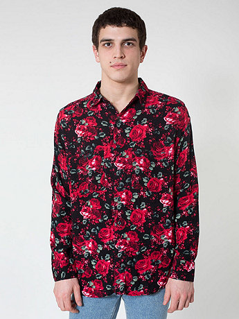 Printed Rayon Long Sleeve Button-Up