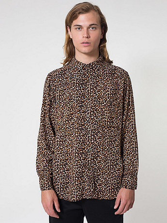 Leopard Print Rayon Long Sleeve Button-Up