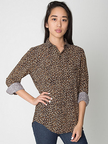Unisex Leopard Print Rayon Long Sleeve Button-Up