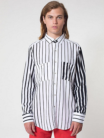 Striped Rayon Long Sleeve Button Up Shirt