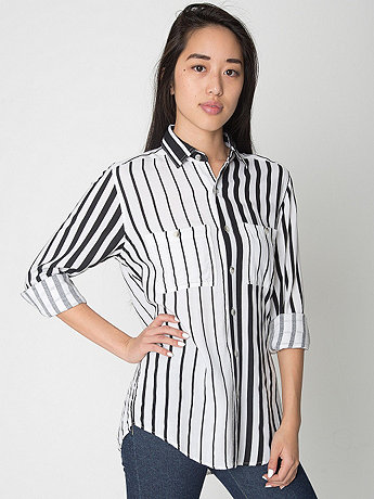Unisex Striped Rayon Long Sleeve Button Up Shirt