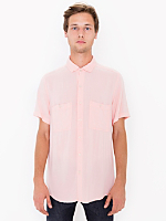 Rayon Challis Short Sleeve Button Up Shirt