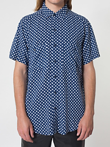 Printed Rayon Short Sleeve Button-Up Shirt