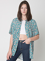 Unisex Printed Rayon Short Sleeve Button-Up Shirt