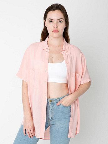 Unisex Rayon Challis Short Sleeve Button Up Shirt