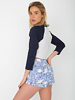 Floral Print Four-Way Stretch Twill High-Waist Cuff Short