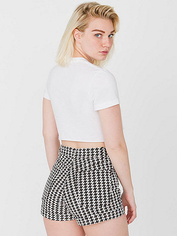 Houndstooth Print Four-Way Stretch Twill High-Waist Cuff Short