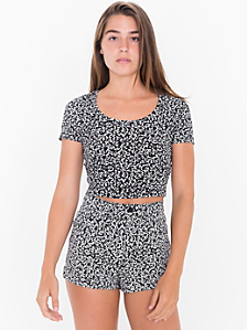 Winie Print Four-Way Stretch Twill High-Waist Cuff Short