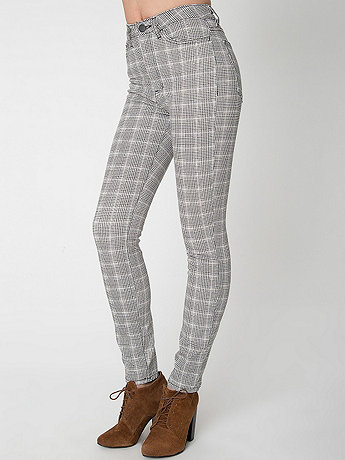 Plaid Four-Way Stretch Twill Printed Pencil Pant
