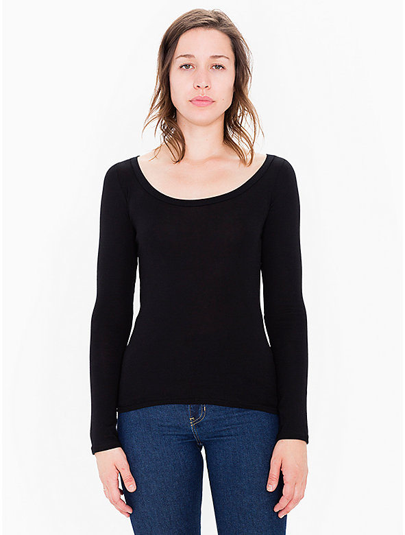Sheer Rib Long Sleeve Scoop Neck