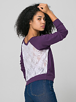 Sheer Rib Lace Raglan