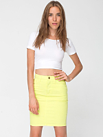 Stretch Bull Denim High-Waist Slim Skirt
