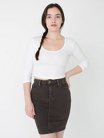 Mineral Wash Stretch Bull Denim High-Waist Slim Skirt