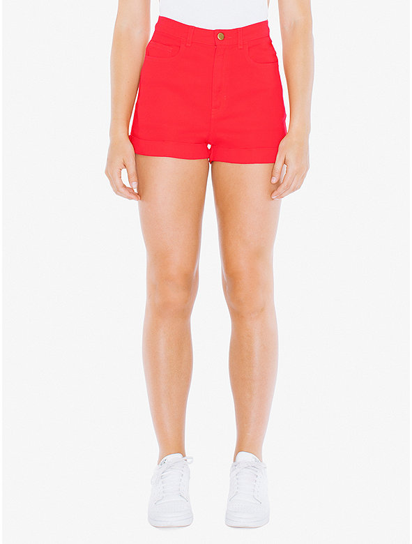 Stretch Bull Denim High-Waist Cuff Short