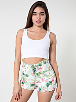 Flamingo Print Stretch Bull Denim High-Waist Cuff Short