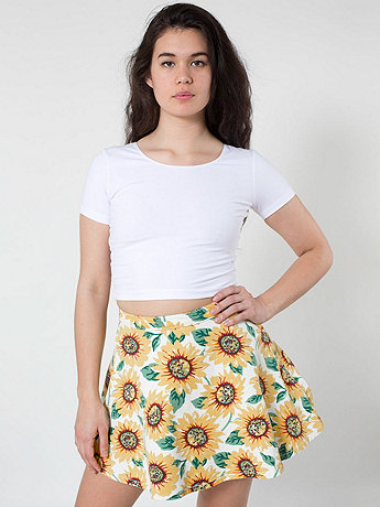 Sunflower Print Stretch Bull Denim Circle Skirt
