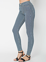 Stripe Stretch Bull Denim Side Zip Pant
