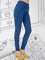 Nathalie Du Pasquier Winie Blue Print Stretch Bull Denim Pencil Pant