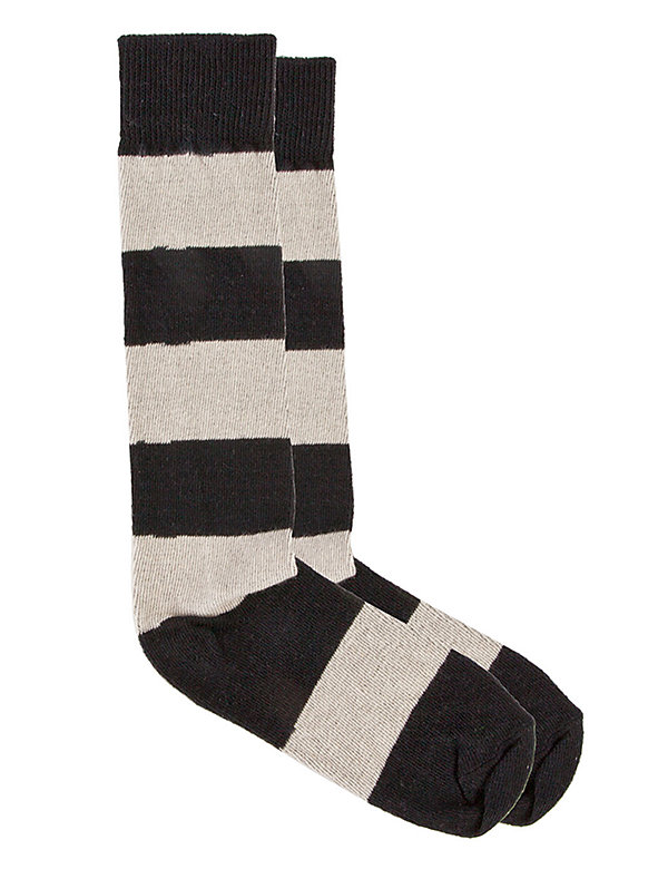 Flat Knit Striped Knee-High Sock