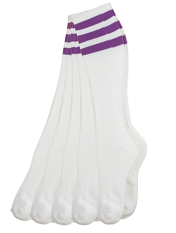 Stripe Knee-High White Sock (5-Pack)