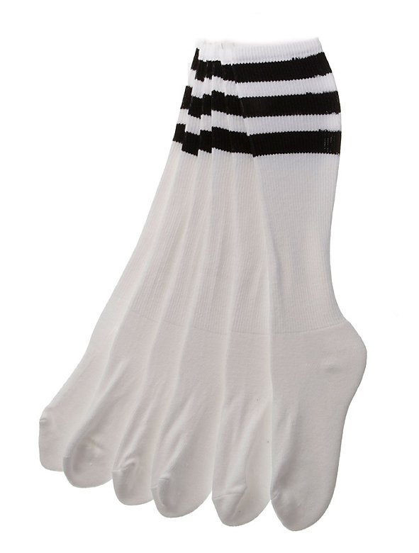Stripe Knee-High White Sock (3-Pack)