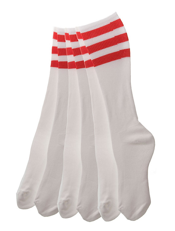 Stripe Knee-High White Sock (3-Pack)