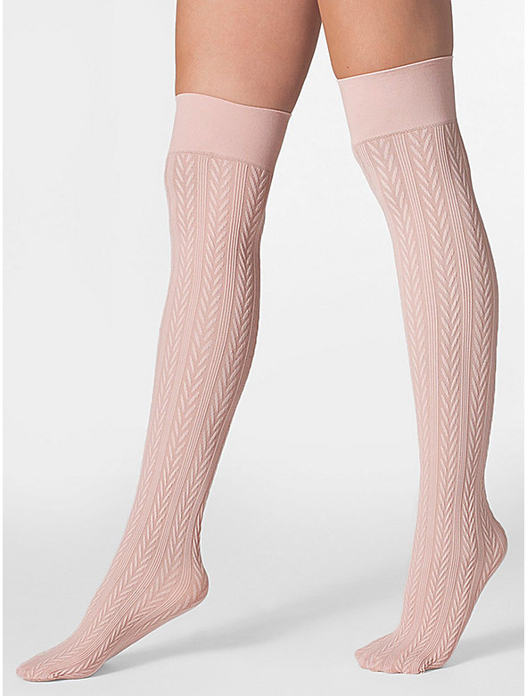Opaque Over-the-Knee Cable Knit Sock