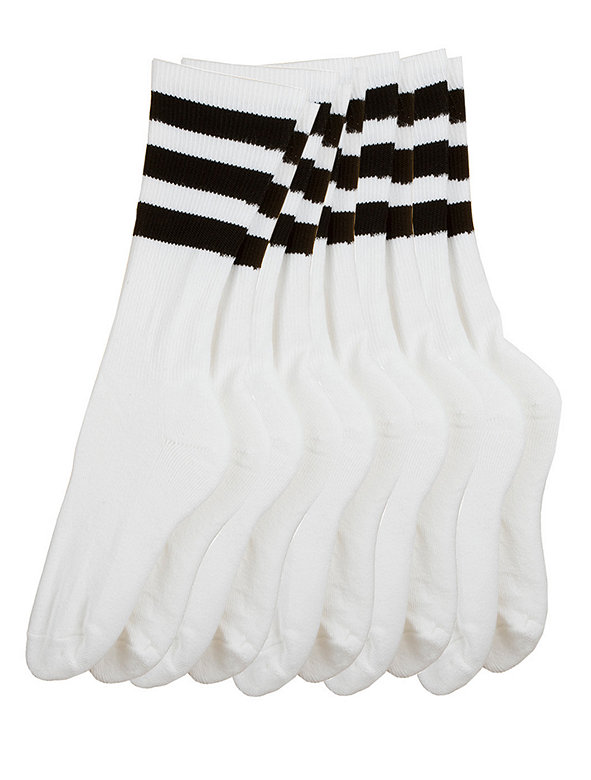 Stripe Calf-High White Sock (5-Pack)
