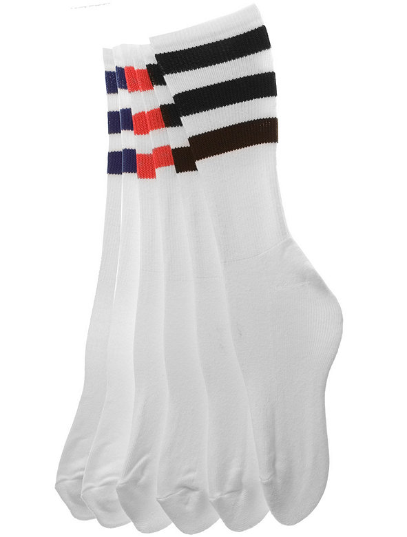 Stripe Calf-High White Sock (3-Pack)