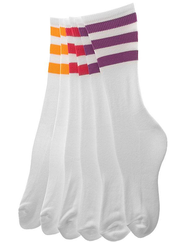 Stripe Calf-High White Sock (3-Pack)