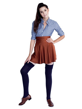 Polyester Solid Thigh-High Socks