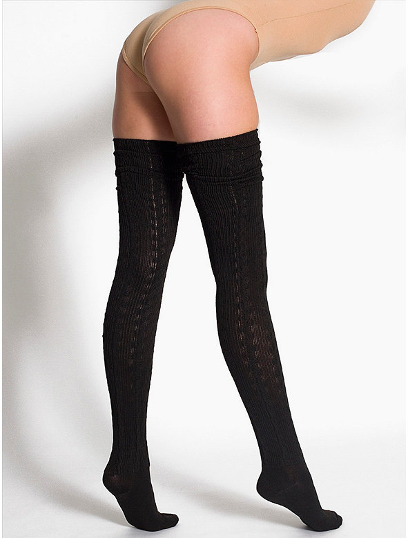 Chain-Link Solid Thigh-High Socks