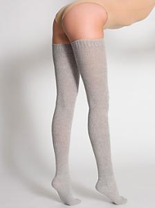 Heather Solid Thigh-High Socks