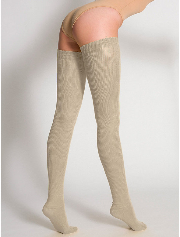 Heather Solid Thigh-High Socks