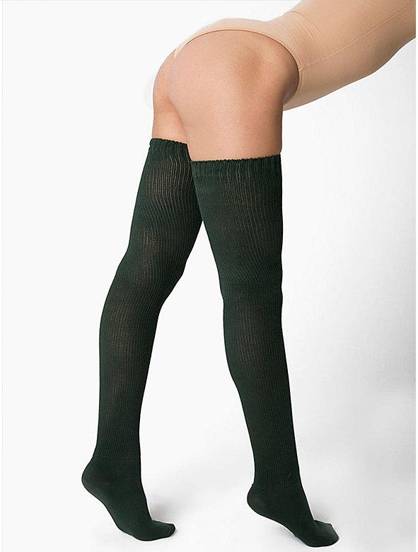 Cotton Solid Thigh-High Socks