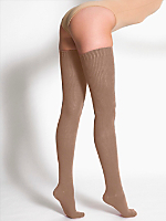 Cotton Solid Thigh-High Socks