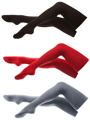 Cotton Solid Thigh-High Socks (3-Pack)