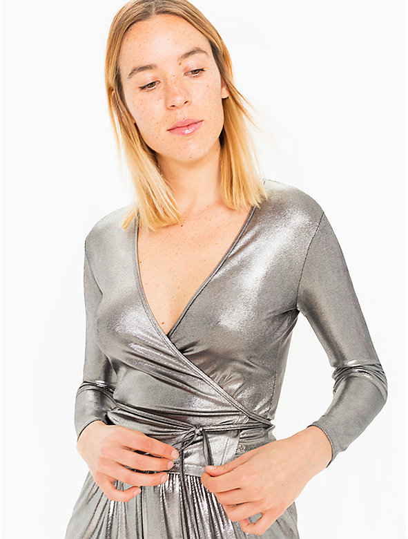 Metallic Jersey Wrap Top